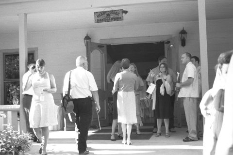 Guests begin to gather in front of the Heart Lodge